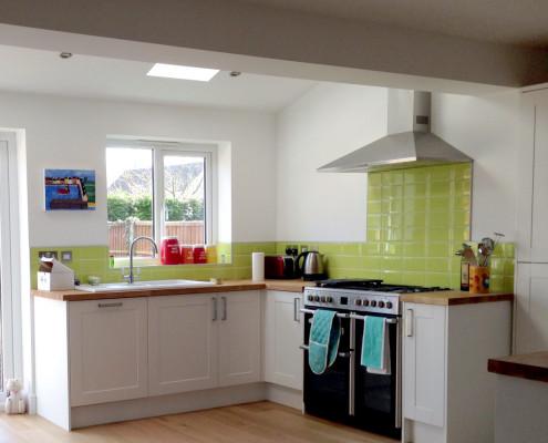 The new, light kitchen